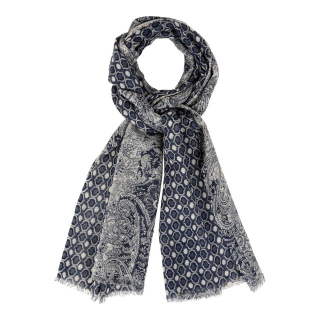 Les Poulettes Bijoux - Echarpe 100% Laine Motifs Cachemire Bleu  Creme -  pas cher Achat   Vente Echarpes, foulards - RueDuCommerce 1a703d4a730