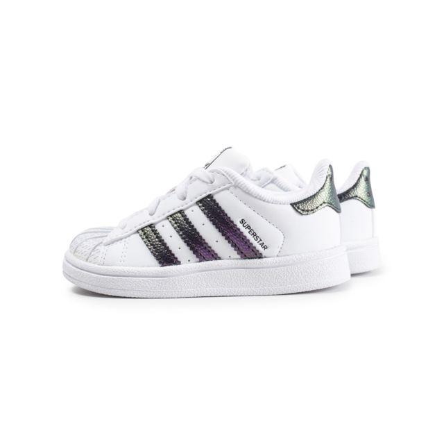 Adidas originals Superstar Bébé Blanche Et Vert Chromé
