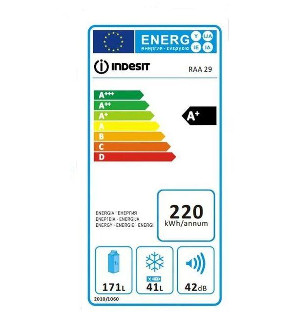 Indesit Réfrigérateur congélateur 2 portes RAA 29 Consommation 226 kWh/an - Dégivrage réfrigérateur automatique - Volume utile réfrigérateur 171L/Congélateur 41L - Classe climatique N.ST - Niveau sonore 42 dB (A).