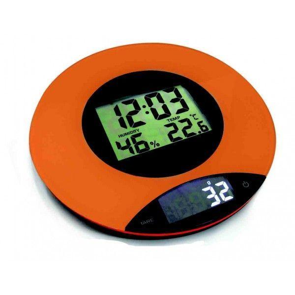 Cookit Balance culinaire multifonctions - horloge et méteo - Orange