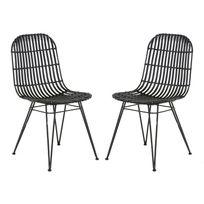 Zago - Chaise en kubu et piètement en métal noir - Lot de 2 Melody