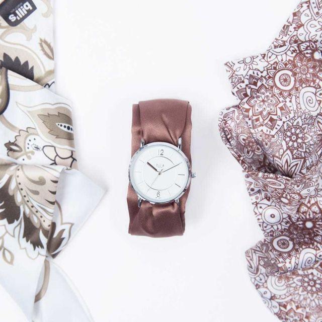 Bill'S Watch Montre Trend avec Bracelet foulard satin Brown - Bill's watches