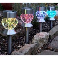 Smart Garden - Lot de 4 balises solaires Led blanc et multicolore acier et verre effet cristal hauteur 34cm