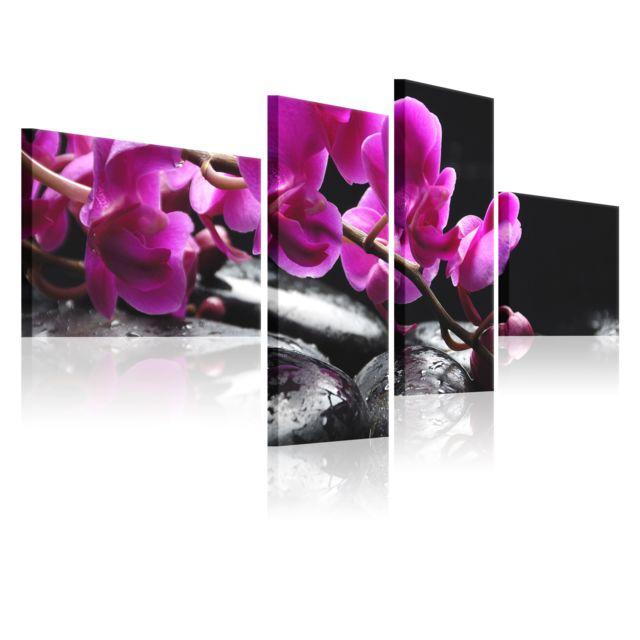 Artgeist Tableau Orchidee Rose Et Pierre Zen 100x45 Fleurs