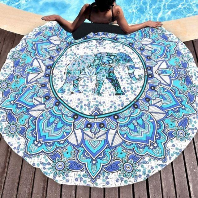 wewoo serviette de plage imprim motif l phant rond t de bain sable ch le charpe taille. Black Bedroom Furniture Sets. Home Design Ideas
