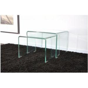 declikdeco 2 tables basses gigognes en verre transparent otta 45cm x 33cm x pas cher. Black Bedroom Furniture Sets. Home Design Ideas