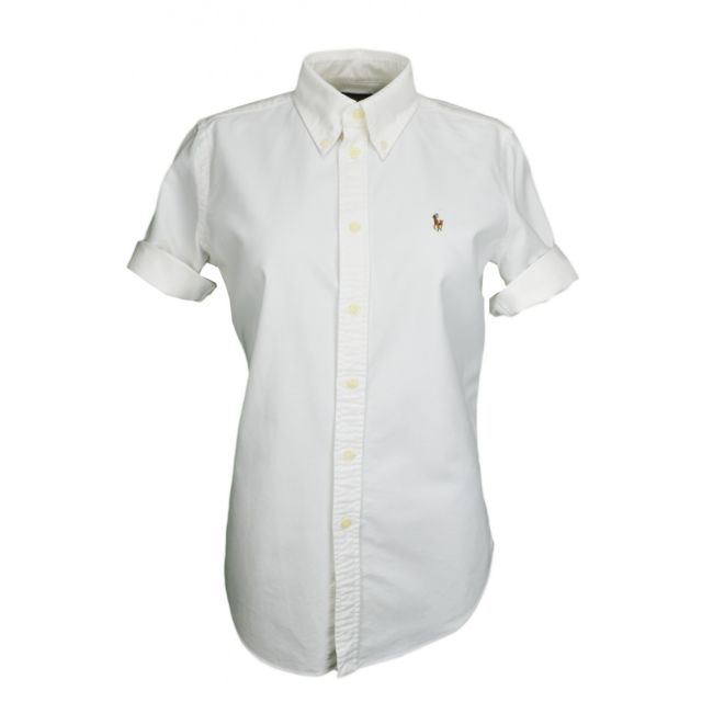 1f2b8ca7a49d Ralph Lauren - Chemise blanche manches courtes Jenny pour femme - pas cher  Achat   Vente Chemise femme - RueDuCommerce