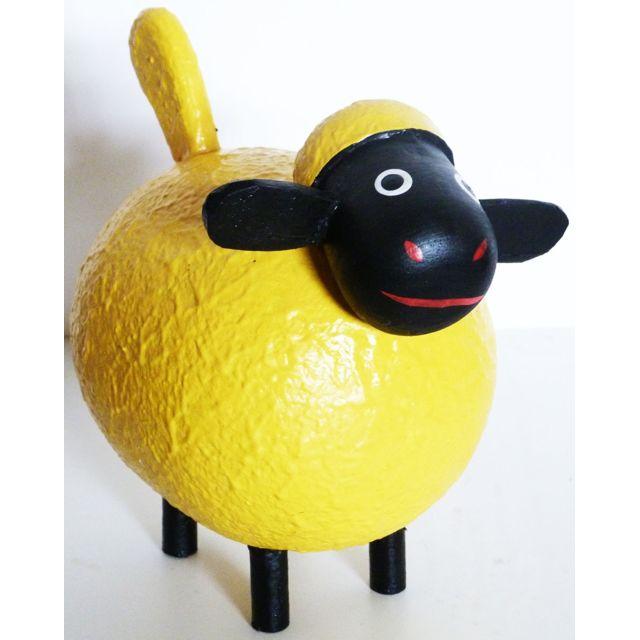 Les Animaux De La Fee Mouton déco Color taille M Jaune