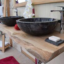 Ocean Line - Vasque de salle de bains à poser en Marbre Noir, Lizéa, ronde ø 45 cm