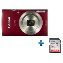CANON - Pack Amateur Compact IXUS 185 Rouge + Carte SDHC Ultra 16 Go