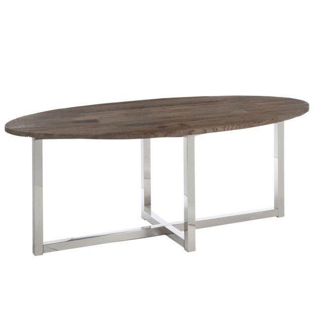 Tousmesmeubles Table de repas ovale Bois/Inox - Clemence