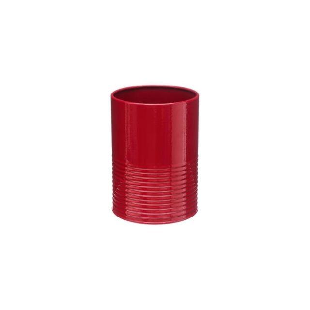 Pot à ustensiles et egouttoir - 11 x 15 cm - Métal - Rouge
