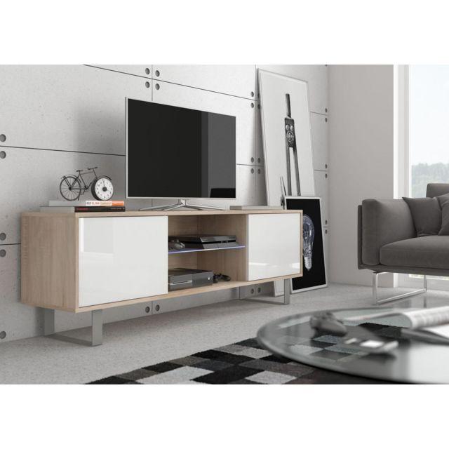 Vivaldi King 2 Meuble Tv Design coloris chêne sonoma avec blanc brillant. Eclairage à la Led bleue