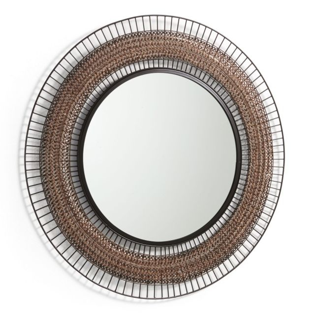 Ma Maison Mes Tendances Miroir rond 90 cm métal cuivre et noir Agnel - L 90 x l 90 x H 2