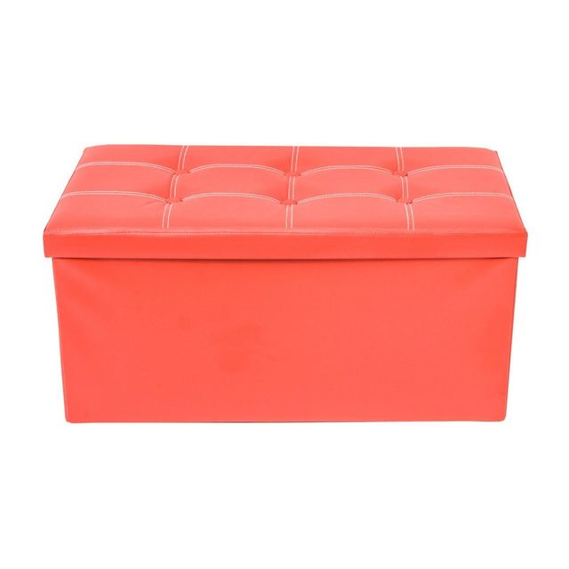 Mobili Rebecca Pouf Coffre de rangement Banc Rectangle Rouge Stokage 38x76x38