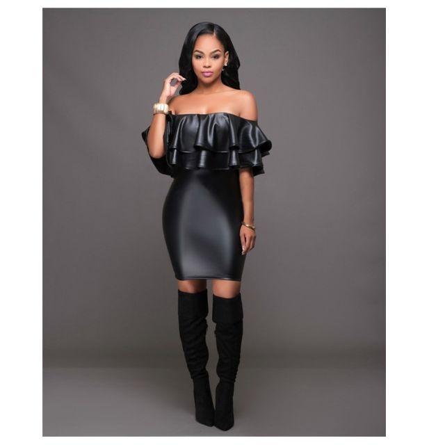 1ff1ee10f59 Fashion Mode 45 - Robe courte noire en cuir Couleur - Noir