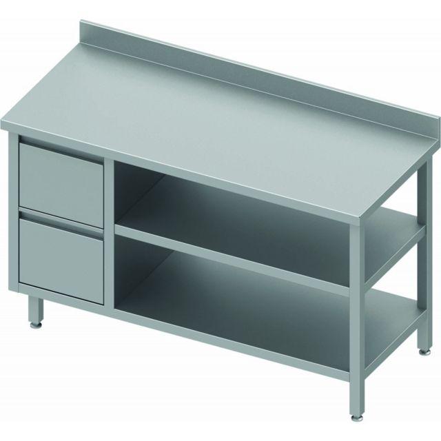 Materiel Chr Pro Table Inox Avec 2 Tiroirs A Gauche & 2 Etagères - Gamme 600 - Stalgast - inox 800x600 600