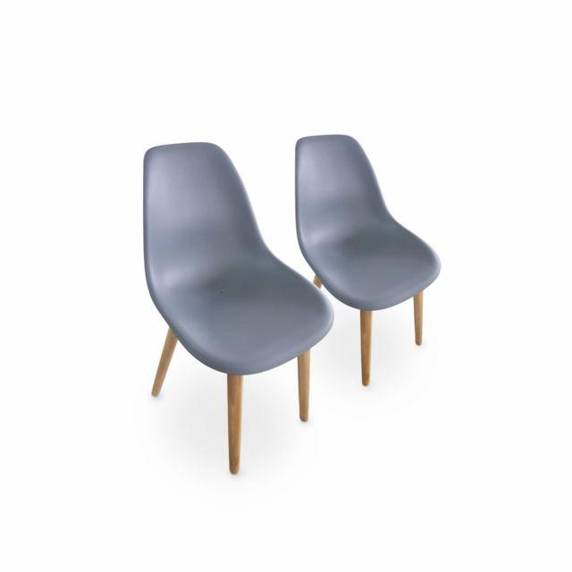 ALICE'S GARDEN Lot de 2 chaises scandinaves PENIDA, en acacia et résine injectée anthracite, intérieur/extérieur