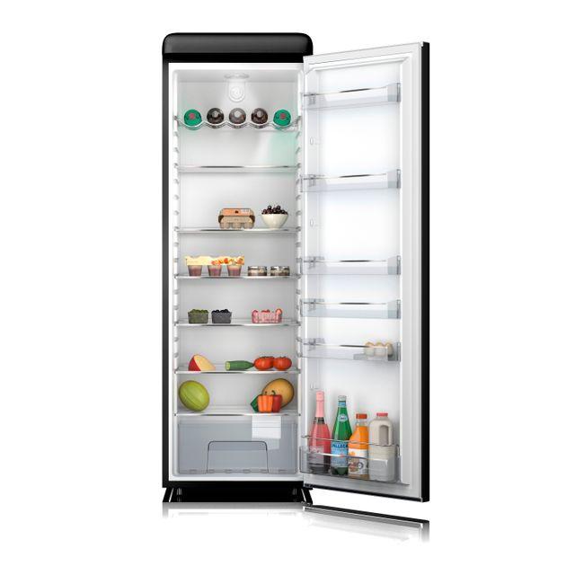 Schneider - Sl328VB Réfrigérateur une porte tout utile Vintage 328 litres - froid brassé - coloris noir - A