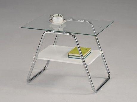 Marque Generique Table basse Larry - Verre trempé & métal chromé - Coloris blanc