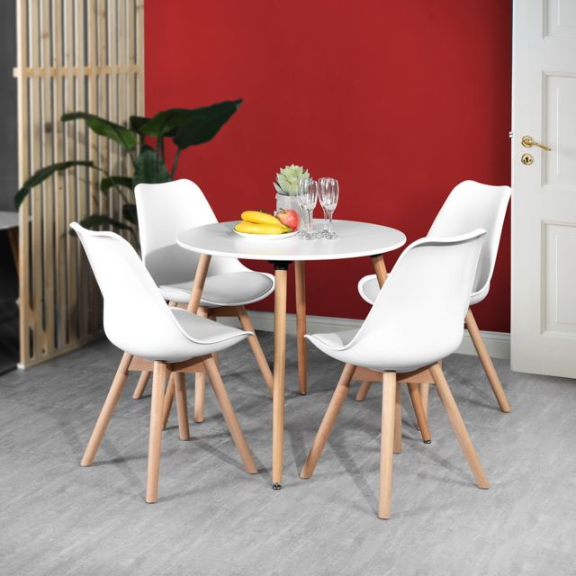 Urban Meuble Ensemble table à manger ronde et 4 chaises Scandinave bois blanc