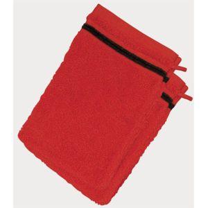 le linge de jules lot de 2 gants de toilette 100 coton 550 grs m2 rouge avec liserets noir. Black Bedroom Furniture Sets. Home Design Ideas