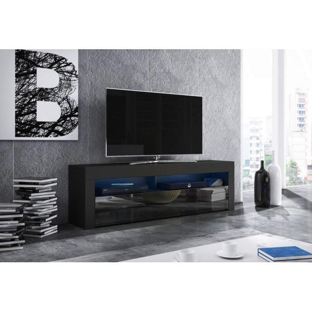 Vivaldi Mex Meuble Tv Design noir mat avec noir brillant. Eclairage à la Led bleue