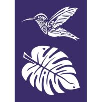 Rayher - Pochoir autocollant spécial textile A4 Colibri + spatule