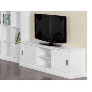 vente unique meuble tv guerande 2 portes 2 niches pin blanc - Meuble Tv Blanc Vente Unique