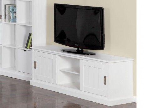 VENTE-UNIQUE - Meuble TV GUERANDE - 2 portes, 2 niches - Pin blanc ...