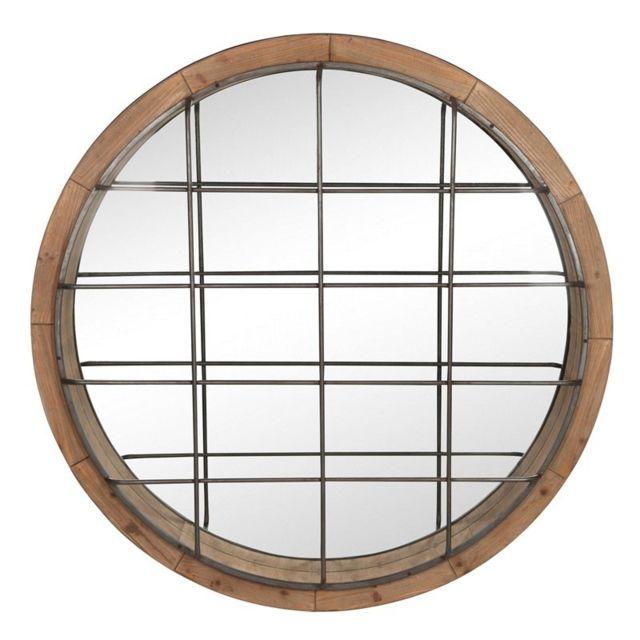 Tousmesmeubles Miroir rond Bois/Fer naturel - Diabel
