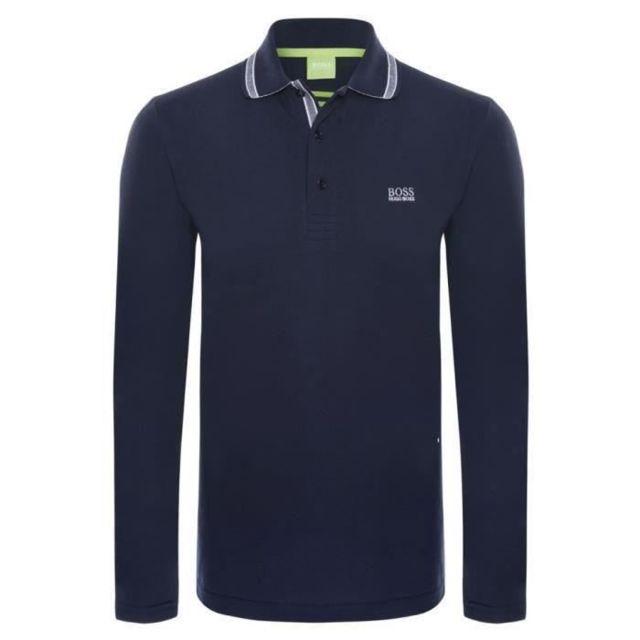 5809ac09150f0 Hugo Boss - Polo homme de marque Manches longues Bleu Maine - pas cher  Achat   Vente Polo homme - RueDuCommerce