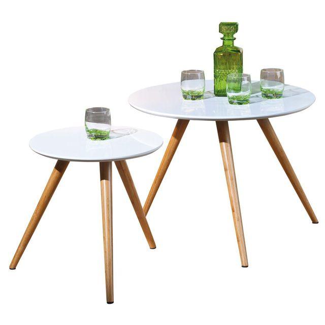 Comforium Lot de 2 tables d'appoint rond blanc et bambou