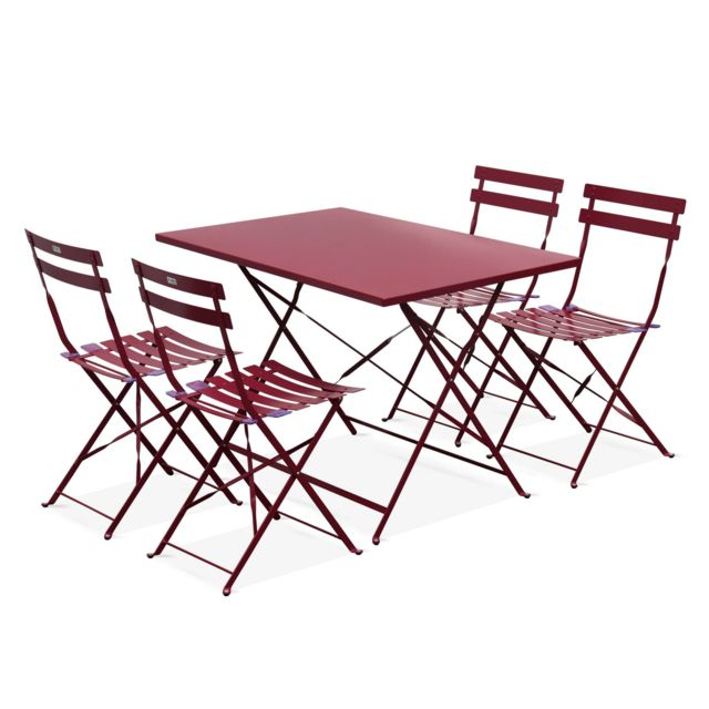ALICEu0027S GARDEN   Salon De Jardin Bistrot Pliable   Emilia Rectangulaire  Bordeaux   Table 110x70cm Avec