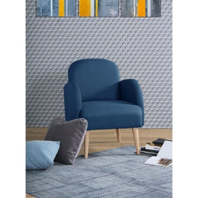 MARQUE GENERIQUE FAUTEUIL LORENS Fauteuil - Tissu Bleu Paon - L 70 x P 62 x H 80 cm