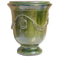 Terre Figuiere - Vase D'ANDUZE émaillé vert Dimensions : N°1 - H35cm x D32cm