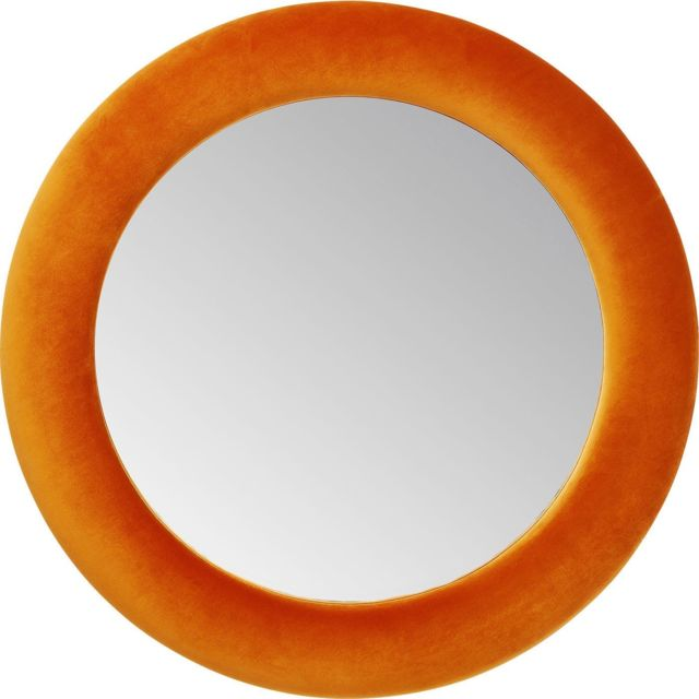 Karedesign Miroir rond velours orange 92cm Kare Design