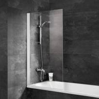 Pare-baignoire Capri, paroi de baignoire, 69,5 x 130 cm, verre transparent, profilé alu argenté