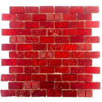 Sygma-group - Carrelage mosaique en verre et pierre metallic brique rouge