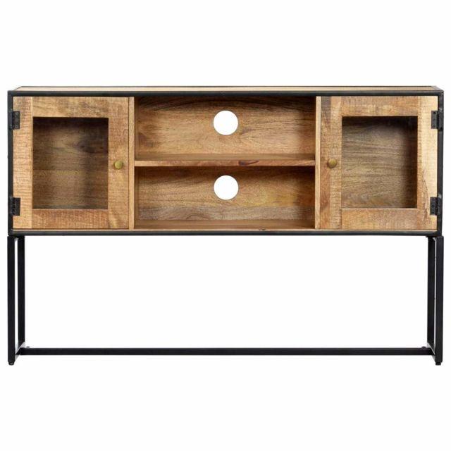Helloshop26 Meuble télé buffet tv télévision design pratique 120 cm bois de récupération massif 2502273