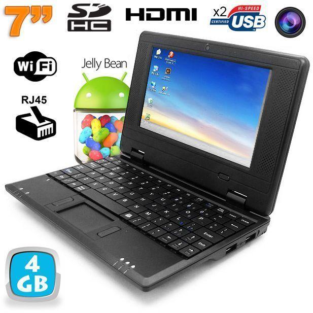 Yonis Mini Pc Android Kitkat dual core netbook 7 pouces WiFi 4 Go Noir
