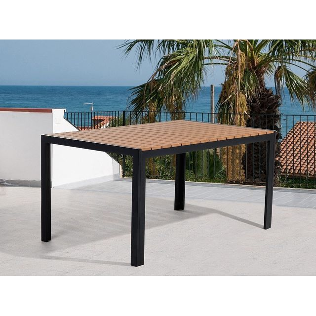 Beliani Table de jardin - Table en aluminium - 150x90 cm - Marron - Como