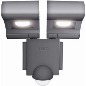 osram projecteur led double spots orientables en m tal noir avec d tecteur noxlite pas cher. Black Bedroom Furniture Sets. Home Design Ideas