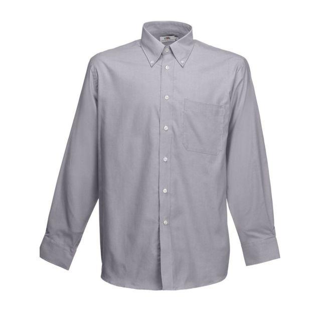Fashion Cuir Chemise manche longue bouton nacré Couleur - gris, Taille Homme - M