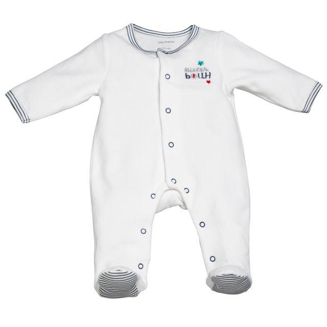 Sauthon - Pyjama bébé blanc 3 mois Mister Bouh - pas cher Achat   Vente  Pyjamas 0ffa3e54dbd