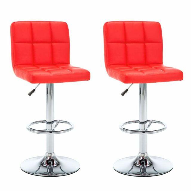 Helloshop26 Lot de deux tabourets de bar design chaise siège similicuir rouge 1202156