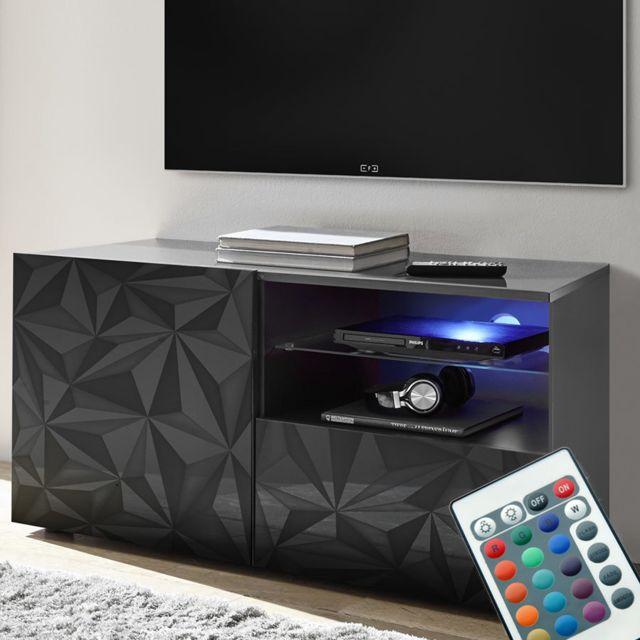 Sofamobili Meuble télé Led 120 cm gris laqué design Antonio 3