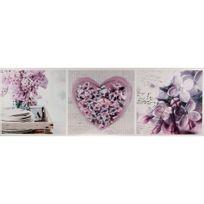 Atmosphera - Toile imprimée Coeur - 30 x 90 cm - Fleurs et coeurs violets