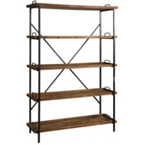 etagere bois metal achat etagere bois metal pas cher rue du commerce. Black Bedroom Furniture Sets. Home Design Ideas