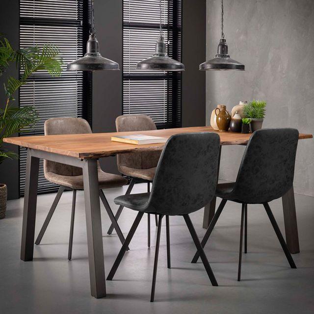 Nouvomeuble Table 180 cm en bois massif et acier Penny